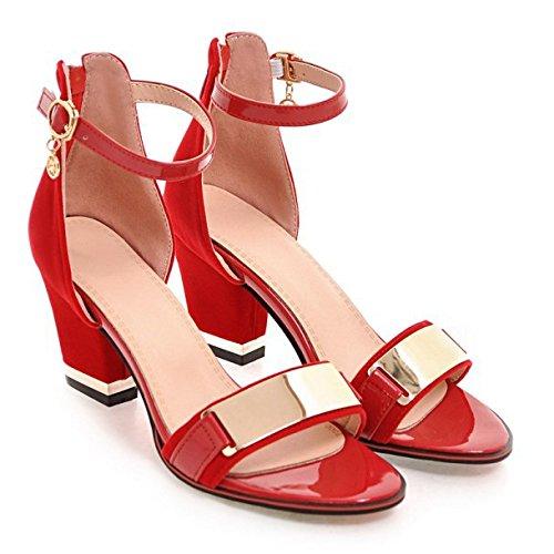 Ankle Strap Schnalle Sandale (PPFME Frauen Peep Toe Stiletto Hochhackige Ankle Strap Sandalen Schnalle Satin Hochzeit Brautschuhe,Red-EU35=225)