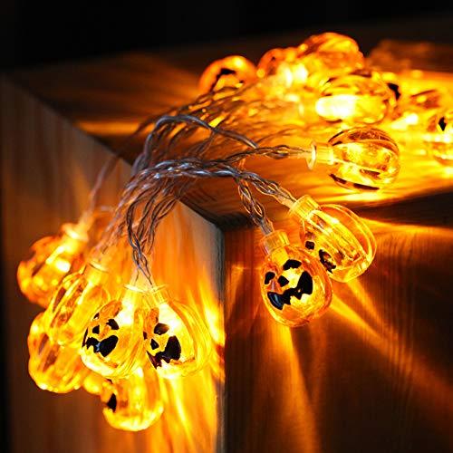 Kürbis Lichterketten für Halloween Dekorationen 2.5m 20 Lichter 3D Laternen für Cosplay, Thema Parteien und Dekoration (5AA Batterie nicht enthalten)