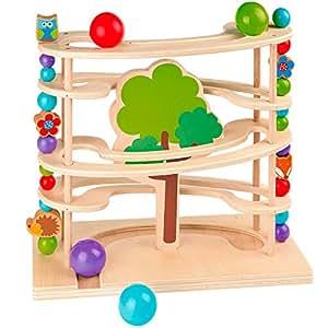 solini kugelbahn waldtiere murmelbahn spielzeug aus holz f r kleinkinder ab 18 monate bunt. Black Bedroom Furniture Sets. Home Design Ideas