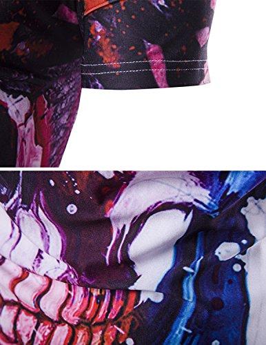 YCHENG Unisex Stilvolle Beiläufige Entwurf 3D-Druck-Muster Kurzarm T-Shirt mit Bunt 1102-A