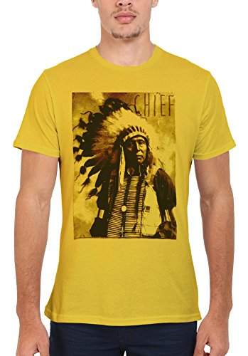 Indians Chief Native Americans Cool Funny Men Women Damen Herren Unisex Top T Shirt Licht Gelb