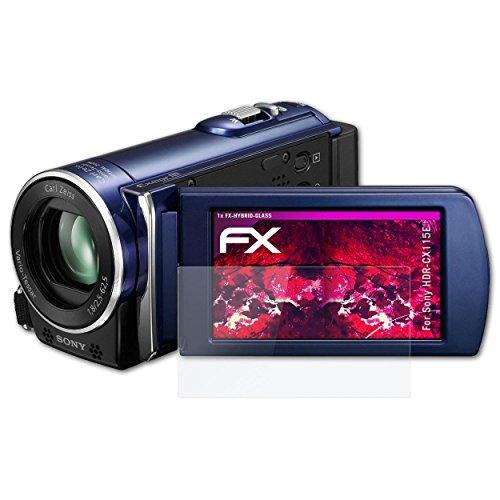 atFoliX Sony HDR-CX115E Película Vidrio - FX-Hybrid-Glass 9H Lámina Protectora de plástico Cristal - Mejor Que el Cristal Original a Prueba de Balas