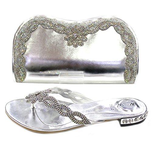 W & W Frauen Damen Kristall mit Schuhe & passender Tasche Größe (Gemz & Tango) Silber