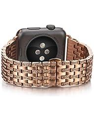 kuxiu Ersatz Apple Uhrenarmband, Legierung Kristall Strass Glänzend Luxus Edelstahl Armband für Apple Watch Series 1Series 2Sport und Edition Version 38mm/42mm