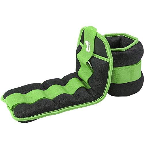Reehut Pesi da Caviglia/Polso (1 Paio) con Cinturino Regolabile per Fitness, Esercizio Fisico, Passeggiate, Jogging, Ginnastica, Aerobica, Palestra - Verde – 2x0,45kg