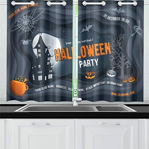 JIUCHUAN Halloween Nacht Kürbis Spukhaus Küche Vorhänge Fenster Vorhangebenen für Café, Bad, Wäscherei, Wohnzimmer Schlafzimmer 26 X 39 Zoll 2 Stück