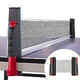 Rete da Ping Pong, Regolabile Accessori da Ping-Pong Portatile e Estraibile Rete da Tavolo, Allungabile Fino a 170 cm, Fino a 5 cm Spessore Piano del Tavolo per Esterno e Lnterno - (Nero e rosso)