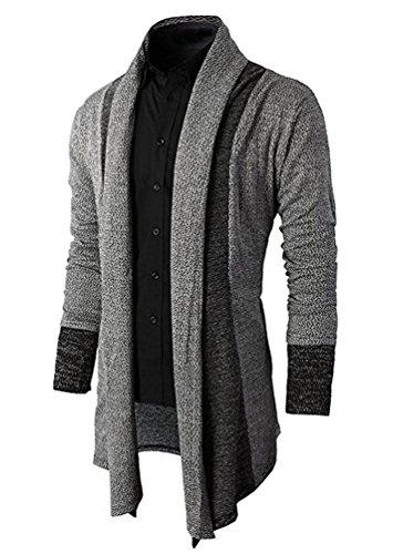 Brinny Herren Strickjacke Open Jacke Lang Cardigan Knit Mantel Strick Jacke Hoodie Hoody Sweatshirt Sweatblazer, grau Gr. L (Herstellergroesse XL)