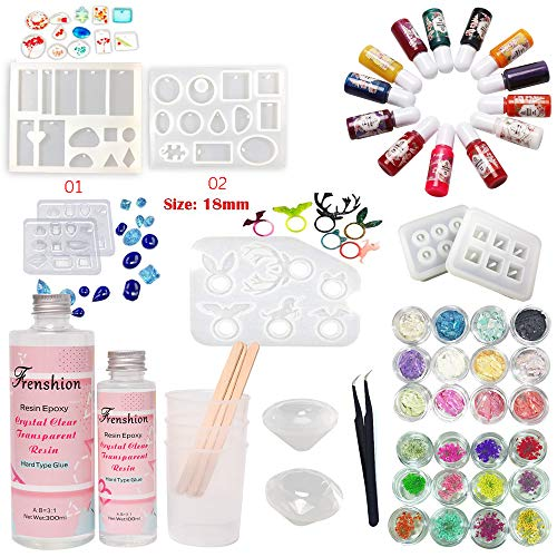 Frenshion 400ML 3: 1 Gewicht 2,5: 1 Volumen Mix AB Crystal Clear Epoxidharz UV-Kleber mit 3 Stück Cup Stir Bar, 1 Pinzette 13 Color Liquid Pigment 24 Dekoration 9Pcs Transparant Silikonform - Crystal Cup