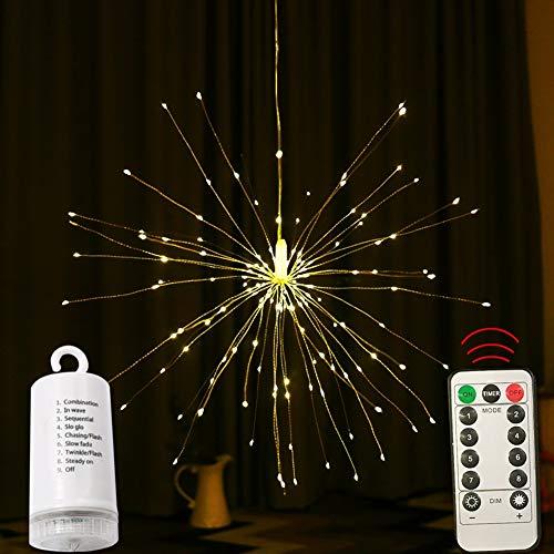 POOPFIY LED-Lichterkette, wasserdichtes Feuerwerk, batteriebetriebenes, einstellbares DIY-Design-Fernbedienungslicht, geeignet für Schlafzimmerdekoration, Wohnzimmer, kommerzielle Dekoration, 60/180 (Kommerzielle Led-weihnachtsbeleuchtung)