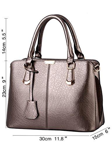 Menschwear Leather Tote Bag lucida PU nuove signore borsa a tracolla Cielo Blu Rame