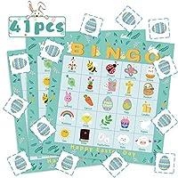WATINC-41Pcs-Ostern-Bingo-Spiel-Set-Indoor-Outdoor-Kleinkinder-Familie-Sommer-Game-Kindergeburtstag-Games-Easter-Party-Favors-Supplies-24-Spieler-Bingo-Karten-fr-Kinder-Erwachsene