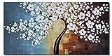Wieco Art-Pintura al óleo sobre lienzo estirada y enmarcada, totalmente pintada a mano, diseño floral y moderno, listo para colgar en salón o dormitorio, decoración para el hogar