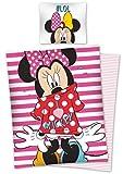 Disney Minnie Mouse - Set copripiumino singolo per bambini, 140 x 200 cm, 100% cotone, decorazione per camera da letto