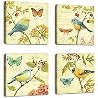 cufun art-bird y flores 4piezas estirada y enmarcado arte paisaje pájaro cantando fotos pinturas sobre lienzo arte de pared para salón o dormitorio decoración para el hogar, yellow, light green and red, 30 x 30cm x4pcs