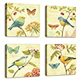 cufun art-bird y flores 4 piezas estirada y enmarcado arte paisaje pájaro cantando fotos pinturas sobre lienzo arte de pared para salón o dormitorio decoración para el hogar, yellow, light green and red, 30 x 30cm x4pcs