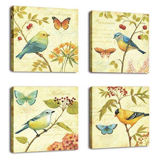 Aves flores 4 piezas arte paisajes aves estiradas