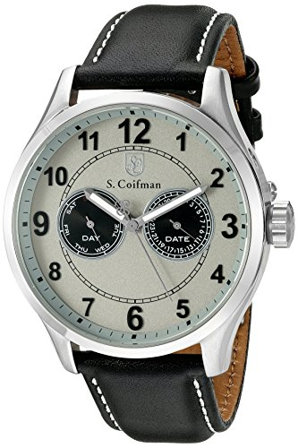 S.Coifman Men's Quartz Watch with Grey Dial Analogue Display and Black Leather Strap SC0315