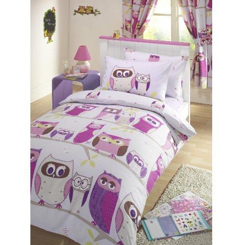 Kids Club Parure de lit « hiboux » rouge, housse de couette simple et deux taies d'oreiller