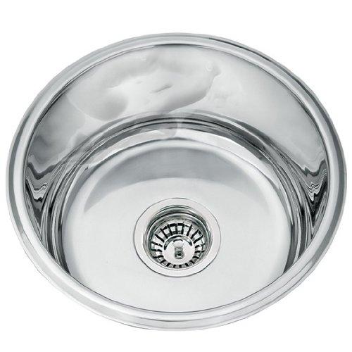 Ciotola per lavello da cucina, in acciaio INOX lucido (L45A)