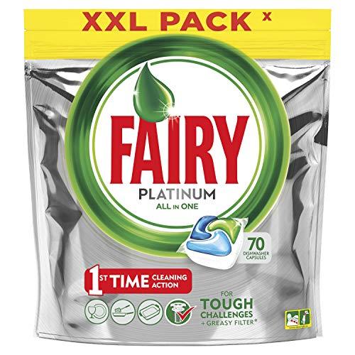 Fairy platinum detersivo in caps per lavastoviglie, confezione da 70 pastiglie