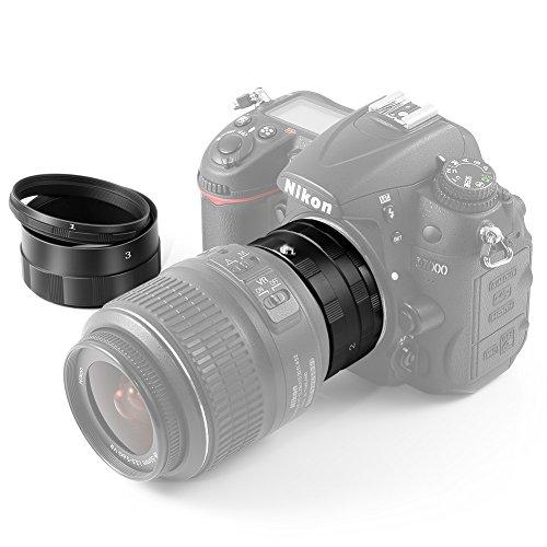 NEEWER? Macro Extension Tube Set for NIKON DSLR SLR Camera Lens (Black), Extreme Close-Ups /such as D90 D300 D300S D600 D3000 D3100 D3200 D5100 D5200 D7000