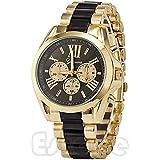 HeroNeo® Luxury Men Classic Stainless Steel Gold Dial Quartz Analog Bangle Wrist Watch