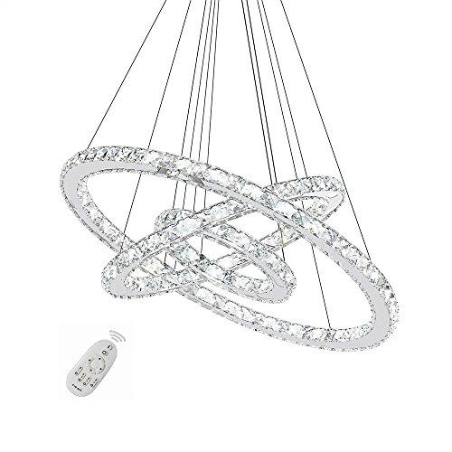 SAILUN 72W LED Cristal Design Lampe Suspendue, Trois anneaux (Φ: 20 cm + 40 cm + 60 cm) Pendentif Lampe de Plafond Lumière Lustre Créatif Dimmable Lustre (72W Régulable)