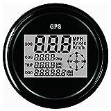 Auto-Geschwindigkeits-Meter-Messgerät, 85mm GPS-Geschwindigkeitsmesser-Messgerät Universal-Entfernungsmesser 140/160 / 200MPH für ATV UTV Motorrad Marine Boot(120KM,NEW Black A)