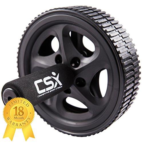 #CSX Bauchroller, Rad mit extra dicker Knieauflagematte und Komfort-Schaumgriffen, Schwarz – Dual, Doppel-Pro-Bauchübungsrad – Phantastischer Fitnessworkout für die Bauchmuskeln#