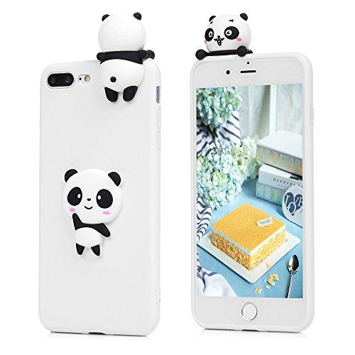 Lanveni Handyhülle für iPhone 8 Plus/7 Plus Hülle Etui Protective Case Cover TPU Silikon Schutzhülle TPU-Bumper Weiche Silikon Case mit Bunte Cover Design (Weißer Panda) Weißer Panda