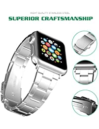 Para Apple Watch Correa, Hovinso 42mm Correa de Acero Inoxidable Reemplazo de Banda de la Muñeca con Metal Corchete para Apple Watch Todos los Modelos 42mm - Silver