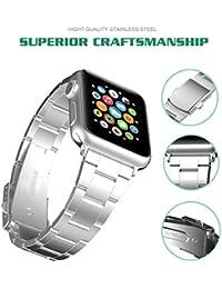Para Apple Watch Correa, Hovinso 42mm Correa de Acero Inoxidable Reemplazo de Banda de la Muñeca con Metal Corchete para Apple Watch Todos los Modelos 42mm - Plata
