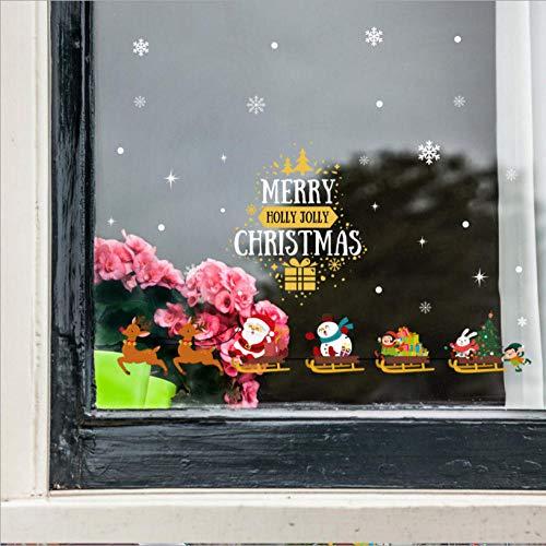 Wandaufkleber Glasfensteraufkleber Weihnachten Wandaufkleber Schlitten Holiday Shop Türen und Fenster Neujahr Dekoration Wandaufkleber Glasfenster -