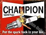 """Champion Bougie D'allumage """"Mettre le Spark back in your life"""" Garage Vintage Métal/Panneau Mural Métalique - 30 x 40 cm"""