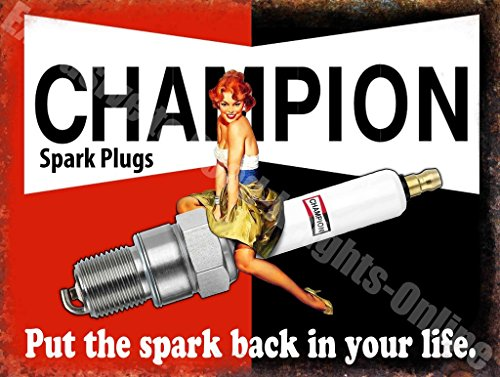 "Champion Spark Plugs ""Poner el Spark back in your life"" Garaje Vintage Metal/Cartel De Acero Para Pared - 30 x 40 cm"