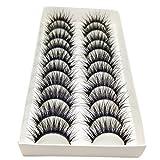 Bluelans® 10 Paar Handgemacht Quer Lange Falsche Künstliche Wimpern Natürlich Schwarz Eyelashes Wimpernverlängerung Make-up