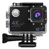 Action Kamera, 4K Ultra HD Wi-Fi Sport Cam Unterwasser 30m / 98 Füße Wasserdicht DV Tauchen Camcorder 16MP 2,0 Zoll LCD-Bildschirm 170 ° Weitwinkel Digitalkamera Recorder mit 2 Akkus/20 PCS Zubehör Ki
