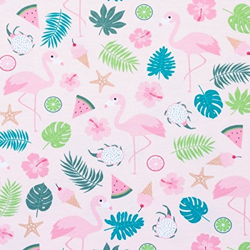 Jersey Stoff Flamingo Melone Eis rosa (Rosa Flamingo-stoff)