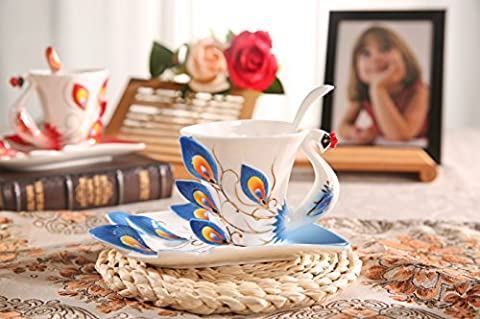 Panbado Hand Crafted 3D Peacock Ceramic Mug Set with Saucer and Spoon Tea/Coffee Cup Artwork Mugs -