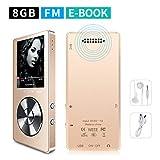 Mymahdi lettore MP38GB (espandibile fino a 128GB), Music player/One-Key registratore vocale/radio FM con 70ore di riproduzione con altoparlante esterno HD cuffie, oro