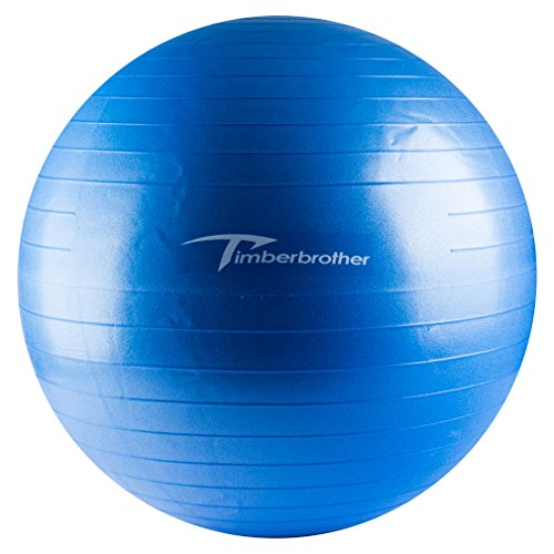 Timberbrother Anti-Burst Exercise Ball / Swiss Ball 65cm Diameter with Pump for Yoga, Pilates, Fitness, Physical Therapy, Gym and Home Exercise (Blue)