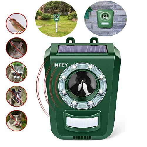 INTEY Katzenschreck Ultraschall Solar und USB Batteriebetrieben, Sensitivität und Frequenz Einstellbar, Tiervertreiber Ultraschall für Katzen, Hunde, Verfügbar, Wenn Eine Kleine Menge Regen Fällt