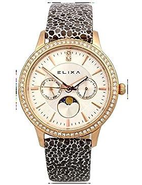 Elixa Damen Armbanduhr Beauty Analog Quarz Lederarmband silberfarbenes Zifferblatt E088-L333-K1