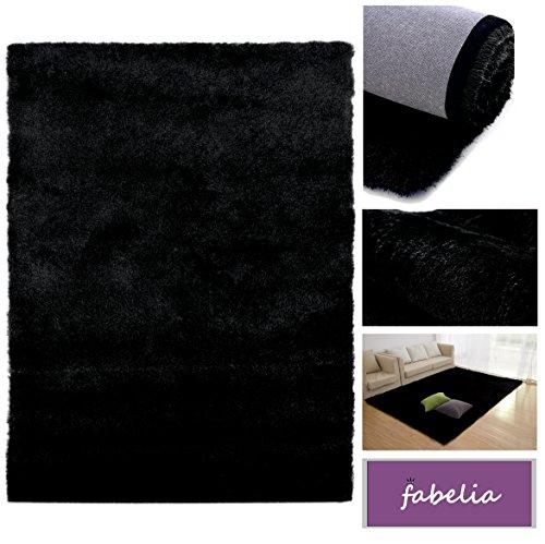 Fabelia Hochflor Teppich Shaggy Gentle Luxus - Satin Luxury - Wohnzimmer/Schlafzimmer (200 cm x 290 cm, Schwarz) - Schwarzer Flokati-teppich