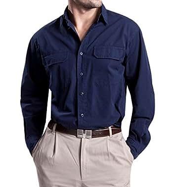 Polo Ralph Lauren chemise à manches longues en coton bleu marine Deux-Ply, Taille:s