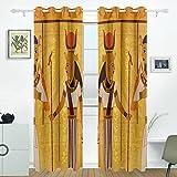 JSTEL Antik Ägyptische und hieroglyphenschrift Vorhänge Panels Verdunklung Blackout Tülle Raumteiler für Terrasse Fenster Glas-Schiebetür Tür 139,7x 213,4cm, Set von 2