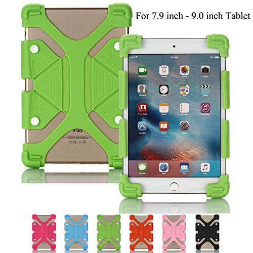 Universelle Tablet-Hülle, Artyond Stoßfeste Silikon-Schutzhülle mit Standfunktion für iPad Mini, Kindle Fire HD 7/HD 8/HDX, ASUS, Samsung Galaxy Tab und Andere 20,9-23,9°cm Tablets, grün
