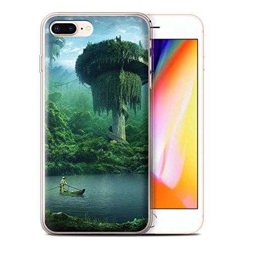 Officiel Elena Dudina Coque / Etui Gel TPU pour Apple iPhone 8 Plus / Ville dans Arbres Design / Fantaisie Paysage Collection Endroit Calme
