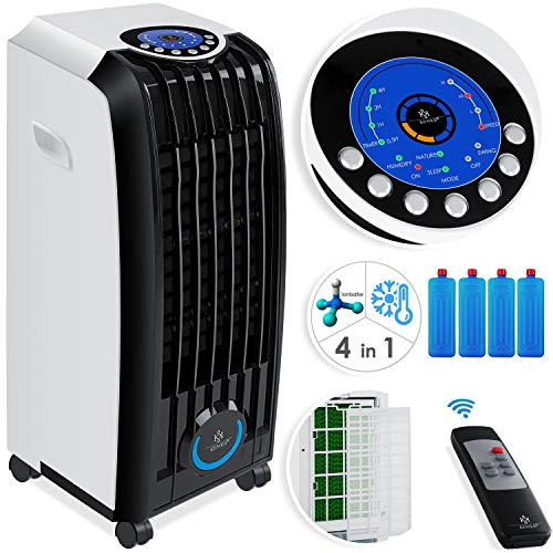 KESSER® 4in1 Mobile Klimaanlage | Fernbedienung | Klimagerät | Ventilator Klimaanlage | 8 L Tank | Timer | 3 Stufen | Ionisator Luftbefeuchter | Luftkühler | Weiß/Schwarz